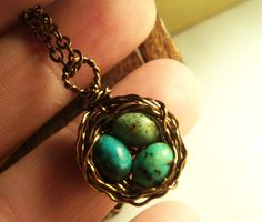 Birds Nest Necklace Solid Copper with Speckled Robins Eggs Gemstone Wire Wrapped. $20.00, via Etsy.