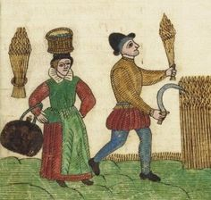 """""""""""""""Peasants harvesting grain. Trevilian Miscellaney, 1602"""""""""""" Curious as to her ensemble being a sleeveless jacket over a skirt with sleeves pined in, or a sleeveless jacket (possibly even a knit one) over a full sleeved dress."""
