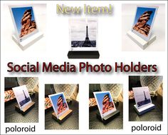 New Item + Social Media Photo Stand + SET OF 4 + Poloroid Stand + Instagram Photo Stand + Photograph Holder + Snap Chat Photo Stand by G360design on Etsy