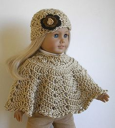 Crocheted Poncho Set for 18 inch American Girl por Lavenderlore
