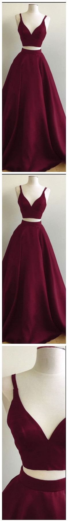 Burgundy A-line Straps Two Piece Formal Dress Sleeveless Elegant Prom Dress