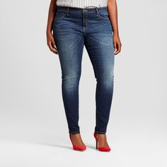 """• Made with SGENE® yarn technology for super stretch and shape retention<br>• Flattering mid-rise waist<br>• Skinny leg with 12.75"""" opening<br>• 29-inch inseam<br>• Model wears size 16/X and is 5'10''<br><br>For a modern take on a wardrobe classic, you'll love the Women's Plus Size Core Jeggings in Dark Blue from Ava & Viv. These silhouette-skimming jea..."""