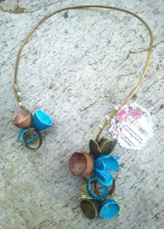 necklace with turquoise and brown silk cocoons
