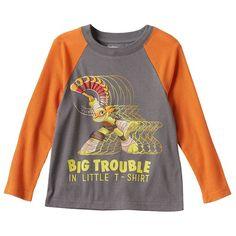 """Toddler Boy Teenage Mutant Ninja Turtles Michelangelo """"Big Trouble"""" Thermal Raglan Long Sleeve Tee, Size:"""