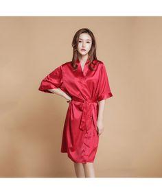 38a87a86c95a Silk Simulated Pure color Bridesmaid pj sets for wedding New Sexy Slim  Bathrobe for women