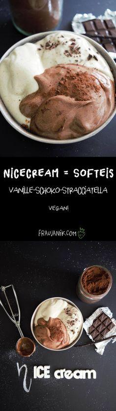 Nicecream = SOFTEIS- Vanille, Schoko, Stracciatella - ohne Eismaschine, ohne Zucker & gesund... Gesundes Eis? Jaaa das geht! Und das auch noch total einfach! #nicecream #eis #eiscreme #gesundeseis #softeis #bananeneis #schokoeis #vanilleeis #himbeereis #fraujanik