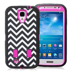 SAMSUNG GALAXY S4 CASE, SHOCKPROOF DIRT PROOF HYBRID ARMOR COVER (FASHION WAVE PINK) | #cellphonegadgets #mobileaccessories www.kuteckusa.com