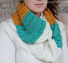 Free Color Blocked Scarf Pattern :: Rescued Paw Designs