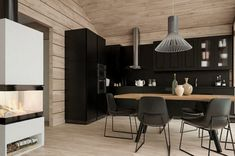 Honka Joiku is an ecological and stylish duplex house for holiday living. Duplex House, Cabin Kits, Black Kitchens, Log Homes, Scandinavian Style, Custom Homes, Kitchen Dining, Design Inspiration, Table