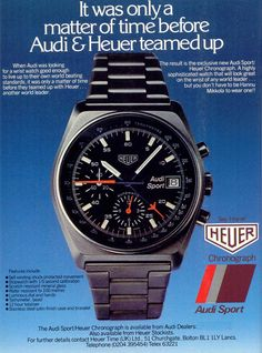 Audi Sport Heuer Chronograph Printwerbung - New Sites Tag Watches, Sport Watches, Cool Watches, Watches For Men, Watches Photography, Watch Ad, Audi Sport, Tag Heuer, Print Ads
