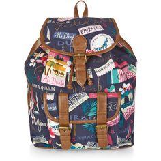 Monsoon UAE Print Backpack ($59) ❤ liked on Polyvore featuring bags, backpacks, pattern backpack, print backpacks, rucksack bag, drawstring backpack bags and pattern bag