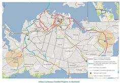 Auckland urban cycleways map