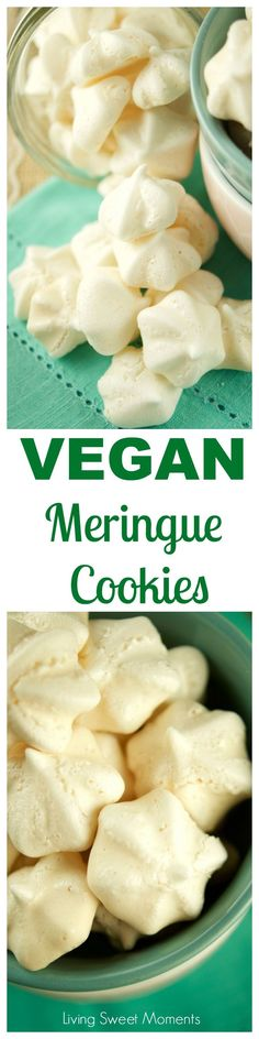 These vegan meringue  cookies recipes have only 3 ingredients and are super easy to make. The perfect vegan dessert that  crunchy & melts in your mouth. Love cooking with Aquafaba! They are also gluten free. More on lviignsweetmoments.com