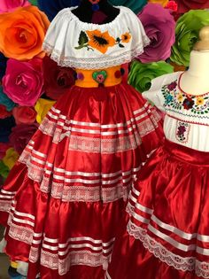Mexican China Oaxaca Red pobrana Frida Kahlo style-womans mexican boho coco theme party day of the dead SKIRT ONLY day of the dead costume Mexican Style Dresses, Mexican Outfit, Mexican Bridesmaid Dresses, Mexican Costume, Mexican Traditional Clothing, Traditional Dresses, Mexican Clothing, Womens Day Theme, Mexican Fashion