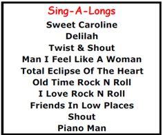 Top Karaoke Songs - Best Karaoke Sing Along Songs - http://allpartystarz.com/pa-dj/lancaster-karaoke-dj/top-karaoke-songs/top-karaoke-songs-best-karaoke-sing-along-songs.html