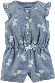 Carters Baby Girls Chambray Hearts Romper #babygirl, #promotion