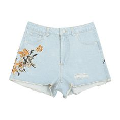 Destroyed Cutoffs Floral Embroidered Denim Shorts (550 ARS) ❤ liked on Polyvore featuring shorts, bottoms, denim shorts, destroyed denim shorts, denim short shorts, denim jean shorts and distressed shorts