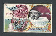 Enterprise Ice Shredder - Philadelphia PA - Trade Card  Wonderful patriotic image with flag design.  Fine condition.  Dimensions:  4-3/4 x 2-15/16  SOLD $136.39 on 6/1/2014