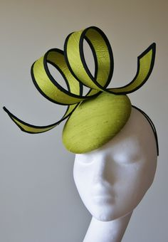Dramatic lime & black sculptural curl fascinator from Esther Louise Millinery