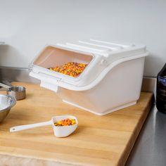 Baker's Mark Gallon / 40 Cup Shelf Ingredient Bin with Flip Lid & Scoop Kitchen Pantry, Kitchen Layout, Kitchen Items, Kitchen Gadgets, Kitchen Tools, Storage Bins, Storage Cabinets, Eggs In A Basket, Kitchen Measurements