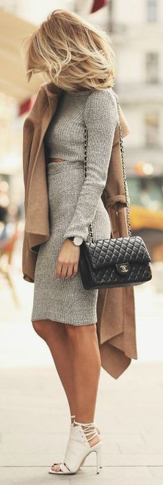 A knitted grey knee length skirt and matching cropped sweater, and black shoulder bag - We love this look! Via Silvia Postolatiev Co-ord: Missguided, Coat: Zara, Shoes: Smiling shoes, Purse: Chanel.