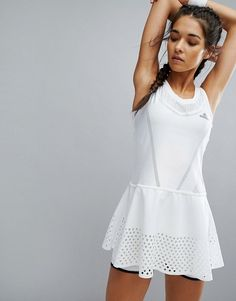 Buy it now. adidas x Stella Sport Tennis Dress - White. Tennis Dress by Adidas, Collaboration with Stella McCartney, Moisture-managing fabric, Designed to keep sweat away from the skin, Helps keep you dry and comfortable, Scoop neck, Perforated panels for optimum breathability, Laser-cut skirt, Scoop back, Includes compression shorts, Slim fit - cut close to the body, Machine wash, 89% Polyester, 11% Elastane, Our model wears a UK 8/EU 36/US 4 and is 178cm/5'10 tall. Founded more than 60…