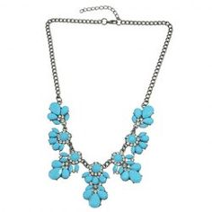 Trendy Faux Crystal Rhinestone Floral Necklace For Women