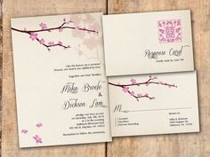 Wedding Invitation and RSVP Card Suite  by VintageBellsAndCo, $2.00