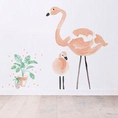 Stickers A3 petits pots de fleurs Flamingo by Lucie Bellion (29,7 x 42 cm) par Lilipinso