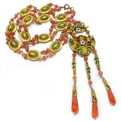 Vintage Czech Art Deco Ornate Enamel Floral Carnelian Glass Bead Necklace - Neiger | Clarice Jewellery | Vintage Jewellery | Vintage Costume Jewellery