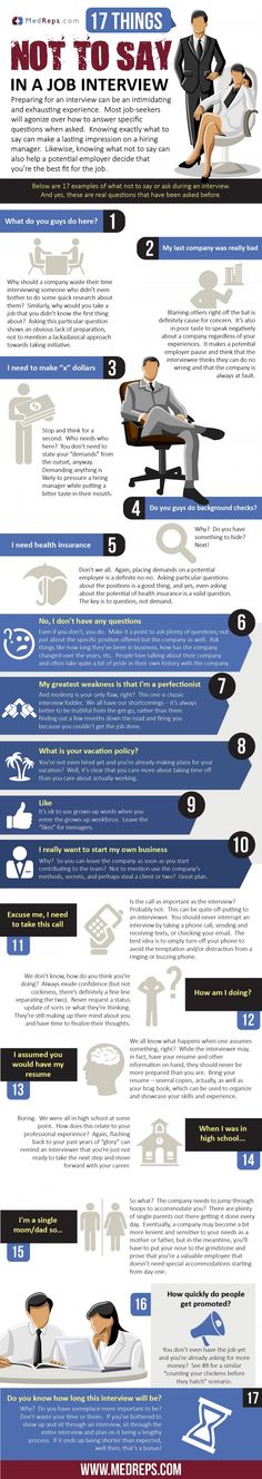 17 Things Not To Say In A Job Interview Infographic