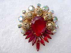 Vintage verified Julianna ruby red rhinestone by MeyankeeGliterz