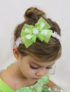 Tinkerbell Hair Bow Headband - Green Hair Bow with Silver Headband - Tinkerbell Princess Bow on Etsy, $10.00