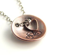 I heart biking necklace. Handmade copper bike by erinbowe on Etsy
