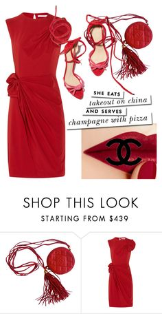 """""""Red Poplin, velvet and leather"""" by carolinarcieri ❤ liked on Polyvore featuring Chanel, Diane Von Furstenberg and Kate Spade"""