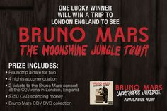 WIN A TRIP TO SEE BRUNO MARS IN LONDON ENGLAND