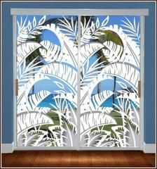 Bahama Breeze window film instantly give your home or office a tropical ambiance. You'll almost feel the tropical breeze with this decorative privacy film for glass doors. The Bahama Breeze is Double Glass Doors, Sliding Glass Door, Etched Glass Vinyl, Stained Glass Window Film, Leaded Glass, Bahama Breeze, Beach Cottage Decor, Cottage Ideas, Cottage Decorating