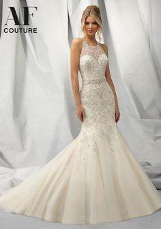 1301 Wedding Gowns / Dresses 1301 Intricately Beaded Gown with Embroidered Allover Design on Net
