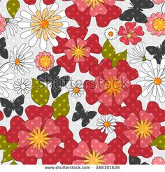 Floral seamless pattern in retro style, cartoon cute flowers background - stock photo