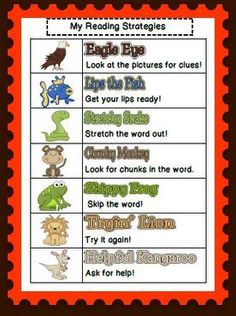 At home reading strategies for parents. These are used during guided reading time. Use an animal to help support the child without giving them the word. Reading Lessons, Reading Activities, Reading Skills, Guided Reading, Teaching Reading, Reading Time, Teaching Ideas, Anchor Activities, Teaching Materials