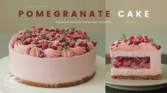 노오븐~❤︎ 석류 치즈케이크 만들기 : No-Bake Pomegranate Cheesecake Recipe : ザクロレアチーズケー...