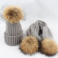 0342bf65bde Baby Winter Hat Set with Scarf Neck Warmer Cap for Boys Girls Kids Children  Raccoon Fur