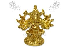 Ganesha 10 Hands (Maha Ganapati) in Brass, Vedicvaani.com. Bring your Shree Ganesha Sculpture on Ganesh chaturthi festival from online God sculptures store. A unique brass Ganesha 10 hands (Maha Ganapati) Statue available at Vedic Vaani.  The great Ganapati is popularly worshipped and seated majestically with one of his shaktis on his knee. He is depicted with three eyes and a crescent moon on his head. He has 10 arms holding tusk, a pomegranate, a sugarcane bow, chakra, noose,