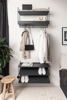 Minimal open wardrobe storage made from String shelving - Informations About Minimal open wardrobe storage made from String shelving Pin You can easily use - Open Wardrobe, Wardrobe Storage, Bedroom Storage, Bedroom Decor, Wardrobe Rack, Bedroom Cupboard Designs, Bedroom Cupboards, Ikea Cabinets, Outdoor Refrigerator