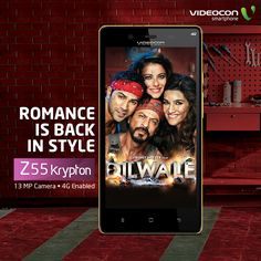 Romance is back in style with #Dilwale! Catch all the action on the new 4G enabled #Videocon Infinium Z55 Krypton. Know more about the smartphone here - http://www.videoconmobiles.com/z55krypton-bethe4runner