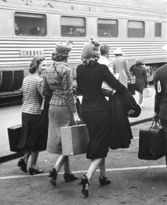 I love that, back in the day, when people traveled, they dressed up.