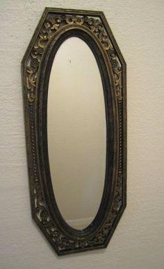 Vintage Syroco Oval Mirror Flur De Lis Wall Mirror Gothic Hollywood Regency 4192