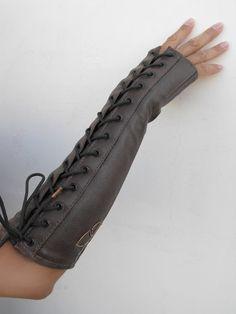 Papilio - Arm Corset, Lace Up Fingerless Glove, Copper Butterfly Design EmpressJessamine eJ Steampunk Couture