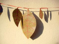 Items similar to Leaf garland with dusky pink leaf veins, upcycled billboard, made to order on Etsy Pink Leaves, Leaf Garland, Party Props, Billboard, Upcycle, Recycling, Create, Buntings, Free Shipping