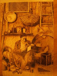 Old man...Pyrography on plywood.